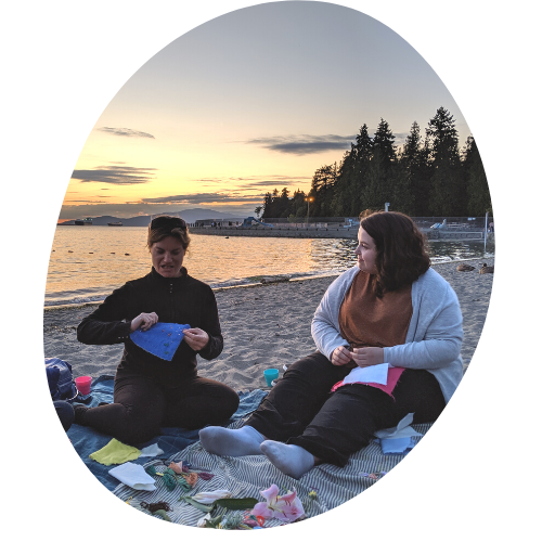 Making meaningful connections while stitching at sunset on the beach